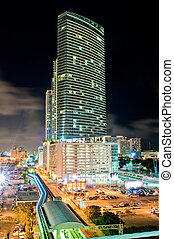 Downtown Miami - Night aerial view of a downtown apartment...