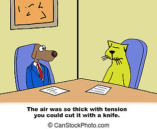 Air Thick With Tension - Business cartoon about business dog...