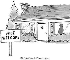 Mice Welcome - Cartoon about a cat who has posted a 'mice...