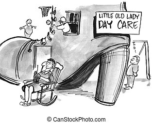 Daycare - Education cartoon about an old lady who has a...