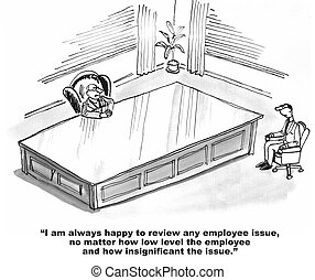 Rude Boss - Business cartoon about a boss who thinks he is...