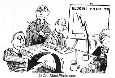 Elusive Profits - Business cartoon about profits so low they...