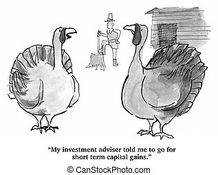 Thanksgiving Investments - Thanksgiving cartoon about a...