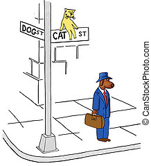 Dog on Cat Street - The business dog has accidentally...