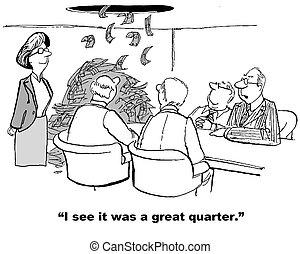 Great Financial Quarter - Finance cartoon about money...