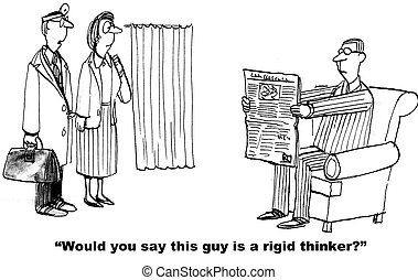 Rigid Businessman - Business cartoon about a man who is...