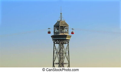 Cable cars running over city Barcelona - Cable cars that run...