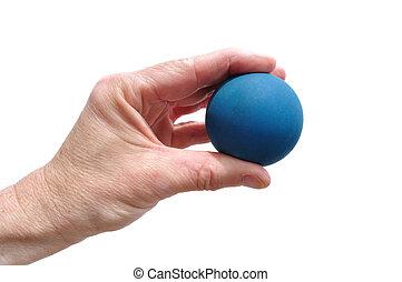jugador, tenencia, azul, caucho, Racquetball