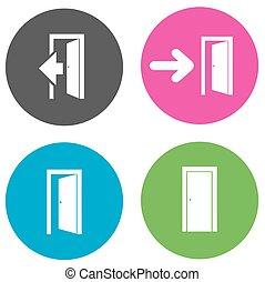 doors open flat icons