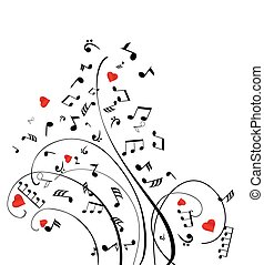 musical notes with hearts