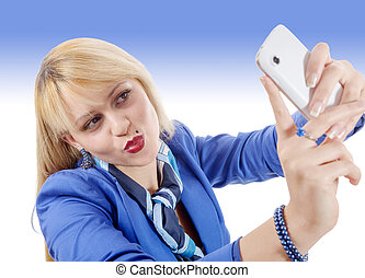 beauty girl taking with blue suit, selfie - a beauty girl...
