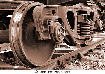 Train wheel - Rusty and polished freight train wheel on...