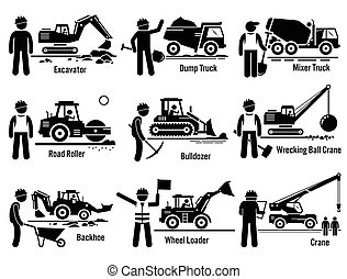 Construction Vehicles Set - Vector set of construction...