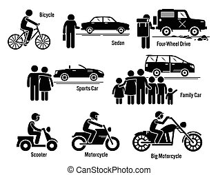 Land Transport Transportation - Vector set of personal...