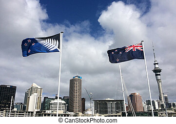 New Zealand National flag and the Silver Fern flag in...