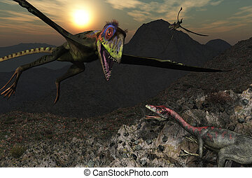 Dinosaur Mountain - A Peteinosaurus is swooping down on a...