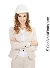 Business woman wearing white helmet - Architect...