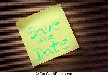 Save the date text on yellow sticky note