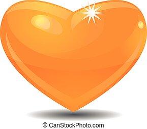 Golden heart vector icon