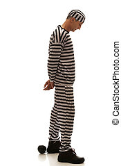 Caucasian man prisoner criminal with chain ball