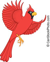 flying cardinal cartoon - vector illustration of flying...