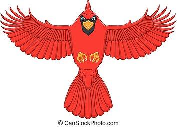 flying cardinal cartoon - vector illustration of flying...