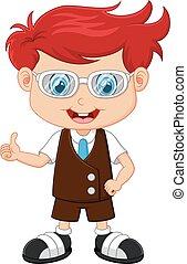 little boy giving thumb up - vector illustration of little...
