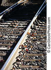 Trackbed - The top view of a roadbed with rails and ballast...