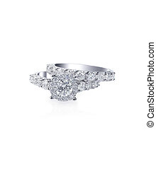 Beautiful diamond wedding engagment band ring solitaire -...