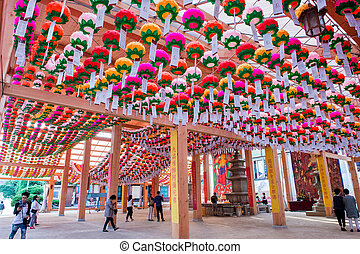 SEOUL, SOUTH KOREA - MAY 9 : Bongeunsa Temple with hanging lanterns for celebrating the Buddha's birthday on May. Photo taken on may 9,2015 in seoul,South Korea.