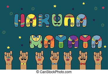 Inscription Hakuna Matata Disco Letters Vector Illustration...