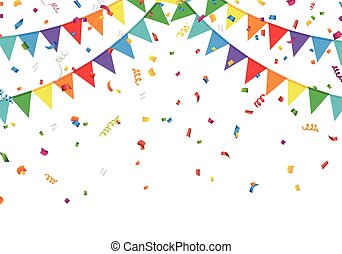 Party flags with confetti - Vector EPS 10 format.