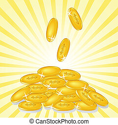 golden coins on sunny background