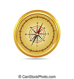 vector illustration of a gold compass