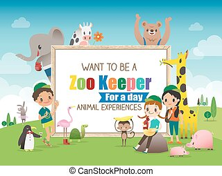 Zoo Keeper for a day children and animals cartoon frame...