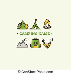 Camping Tourism Hiking Concept. Vector