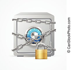 Safe and Lock Security Concept. Vector