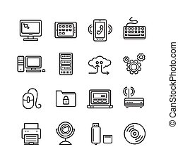 Computer Technology Outline Icon Set. Vector
