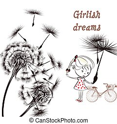 Background with dandelion, bucycle and little girl girlish...