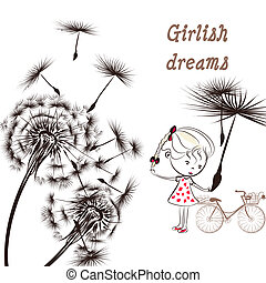 Background with dandelion, bicycle and little girl girlish...