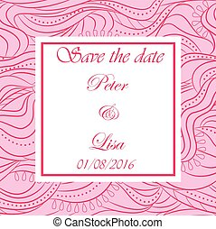 Wedding invitation waves background pink