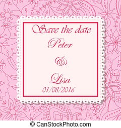 Wedding invitation flowers background pink