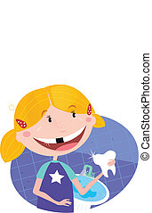 Girl with tooth in the bathroom - Vector Illustration of...