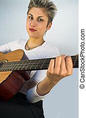 femme, et, guitare,