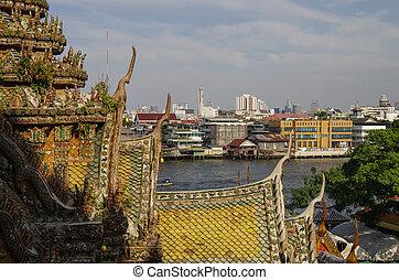 View from Wat Arun temple to Chao Phraya river, Bangkok, Thailand