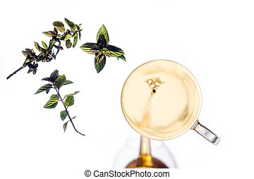 under view of mint tea on a pane, white background