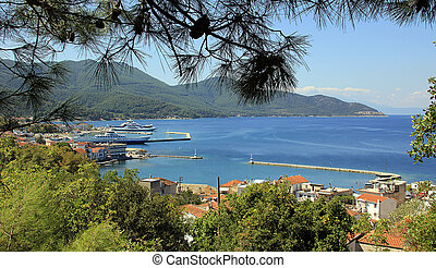 Limenas on Thassos island - View to harbour of Limenas on...