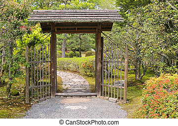 Wooden gate with roof inside the garden - Simple looking...
