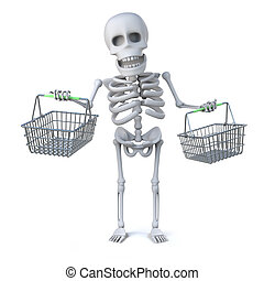 3d Skeleton goes shopping with some shopping baskets