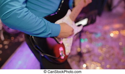 Musician play guitar - Male musician play electric guitar...